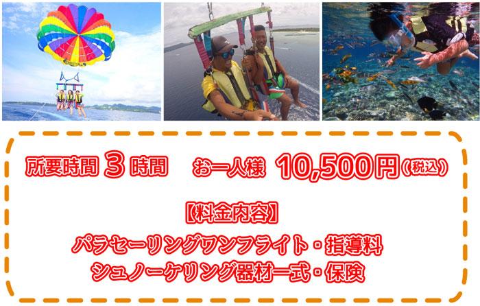 瀬底島パラセーリングとダイビング10500円